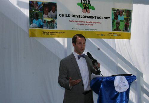 """Chairman of the Board of the Washington based non-profit organization, Embracing Orphans, Carl Robanske, which has donated a house in Reading, Montego Bay, to the Child Development Agency (CDA) for use as a transition home for female wards of the state preparing to exit state care, as he address the official opening ceremony for the facility named """"My Father's House""""."""