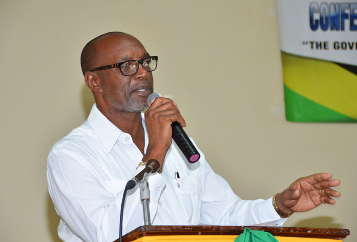 Minister of State in the Ministry of Local Government and Community Development, Hon. Colin Fagan, addressing the Community Development Committees Conference, which was held in Savanna-La-Mar, Westmoreland on November 13.