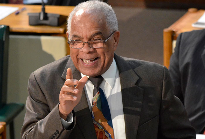 Minister of Transport, Works and Housing, Dr. the Hon. Omar Davies, injects some humour in his  contribution to the 2014/15 Sectoral Debate in the House of Representatives on  May 14.