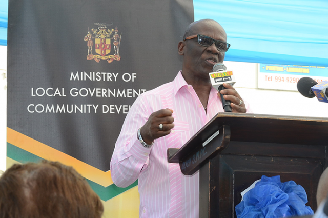 Local Government and Community Development Minister, Hon. Desmond McKenzie,addressesthe launch of the mobile property tax unit in Port Maria, St. Mary, on February8.