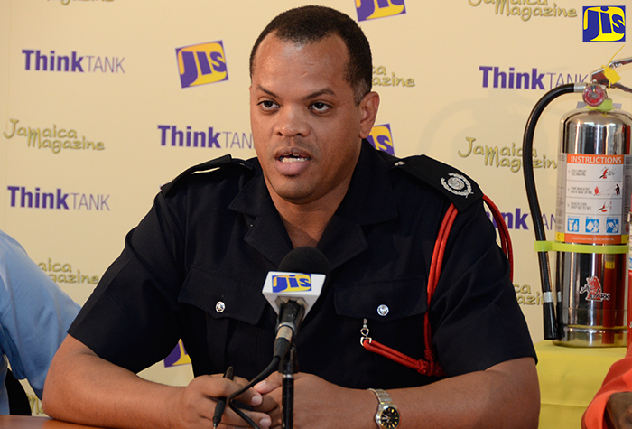Senior Deputy Superintendent and Public Relations Officer at the Jamaica Fire Brigade (JFB),  Emilio Ebanks, speaking at a JIS 'Think Tank' on December 6, at the agency's Montego Bay Regional Office in St. James.
