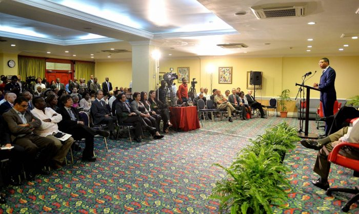 Prime Minister, the Most Hon. Andrew Holness, addresses a security forum organised by Guardsman Group at The Knutsford Court Hotel in New Kingston on May 11.