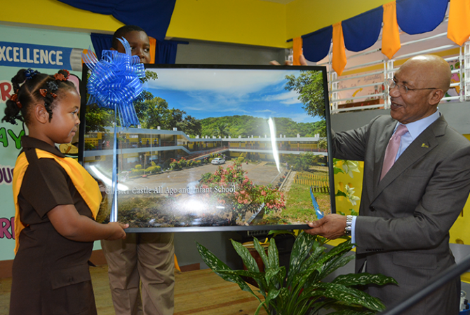 Governor-General, His Excellency the Most Hon. Sir Patrick Allen, addresses teachers and students of the Chester Castle All-Age and Infant School in Hanover on September 21.