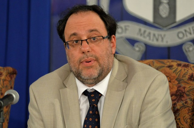 Justice Minister, Senator the Hon. Mark Golding, addresses journalists on proposed amendments to - golding-ganja2-640x425