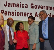 President of the Jamaica Government Pensioners Association, Charles Jones (right), in discussion with (from left)  Secretary of the association, Lucy Flash O'Sullivan ; First Vice President of the entity, Leebert Brown; Consultant for Government Business, Sagicor, Rupertia Smith; and Tanisha Weir-Grant of the Accountant General's Department. Occasion was the association's 47th annual general meeting, held at the Knutsford Court Hotel in Kingston, on August 14.