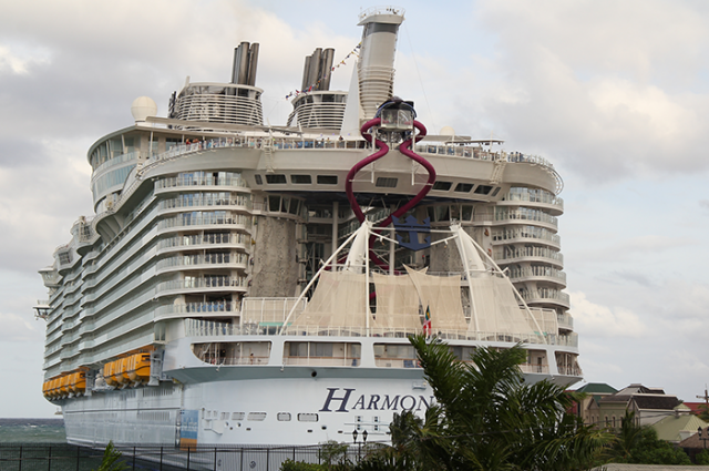 Harmony of the Seas, the world's largest cruise ship, makes inaugural call at the Falmouth pier in Trelawny in November 2016.