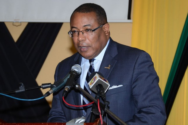 Minister of Industry, Investment & Commerce, the Hon. Anthony Hylton, addresses a press briefing on the 2015 Jamaica Investment Forum (JIF) being held March 10 to 12 at the Montego Bay Convention Centre.
