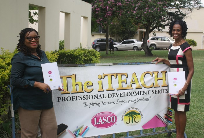 Former LASCO Ministry of Education Teacher and Principal of the Year 2014/15 and creators of the iTeach professional development series, Lecturer in the Department of Language and Communication at Moneague College, Anieta Bailey (left) and Principal of Hampton School, Heather Murray (right). The educators were at the Shortwood Teachers' College in Kingston during the inaugural staging of the iTeach Professional Development Series on November 20, 2015.