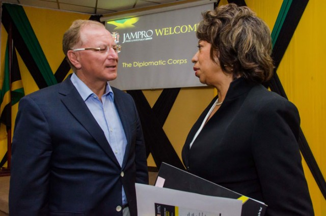 President of Jamaica Promotions Corporation (JAMPRO), Diane Edwards (right), is in discussion with Ambassador of Poland to<br />