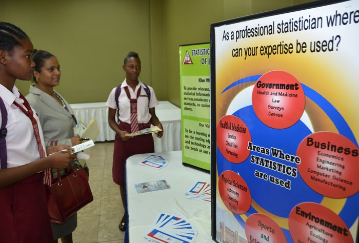 Guidance Counsellor at Spot Valley High School in St. James, Georgia Spence-Gooden (centre), along with students, Olivia Shaw-Smith (left), and Laveina Lawson, view displays during the Ministry of Labour and Social Security's Regional Dissemination Session, which was held at the Wexford Court Hotel in Montego Bay, on April 4, to present the findings and recommendations of a School-to-Work Transition Survey (SWTS).