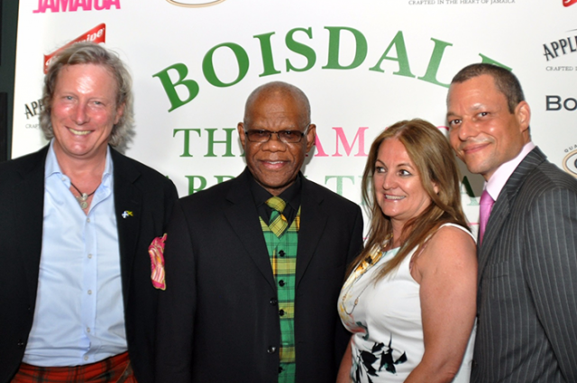 High Commissioner, His Excellency Seth George Ramocan (second left), with (from left), owner of the Boisdale Restaurant, Mr. Ranald MacDonald; Ms Elizabeth Fox of the Jamaica Tourist Board; and Mr. Lawrence Jones, European Regional Manager for Jamaica Promotions Corporation (JAMPRO), at the official opening of the Jamaica Garden Terrace in London on July 3.