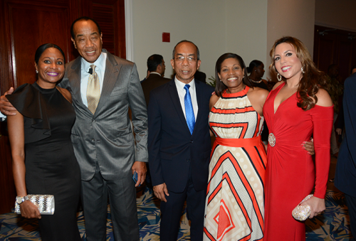 Minister without portfolio in the Ministry of Economic Growth and Job Creation, Hon. Dr. Horace Chang (centre), shares a photo opportunity with from (left) Kerry-Ann Spencer of AVP Wealth Management; Chairman of the Economic Growth Council, Michael Lee-Chin; Executive Director, Financial Services Commission, Janice P. Holness; and Member of the Economic Growth Council, Paula Kerr-Jarrett. Occasion was the International Organization of Securities Commissions Gala at the Hyatt Ziva in St. James on May 17.