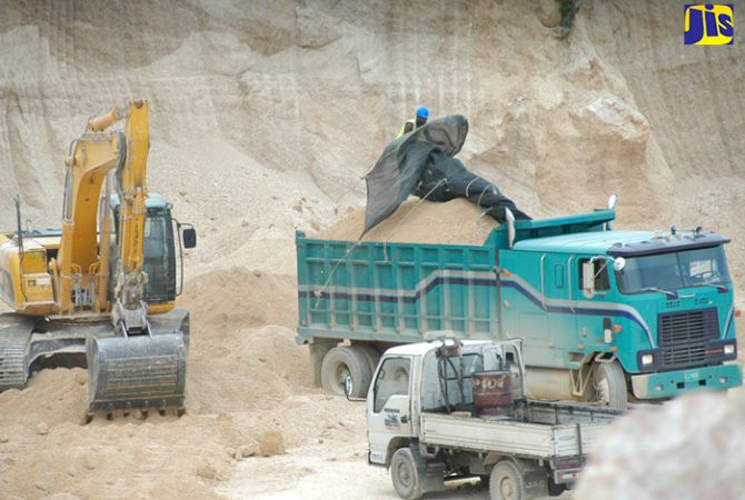 A lime pit being mined in St. Ann.