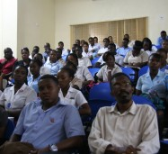 A section of the packed lecture room at the Montego Bay Community College, Alice Eldemire Drive, Montego Bay, during the address by Minister of State in the Ministry of Industry, Investment and Commerce, Hon. Sharon Ffolkes-Abrahams, at a public forum on the topic: 'Jamaica's Logistics Hub: Opportunities and Challenges'.