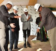 Tourism and Entertainment Minister, Hon. Dr. Wykeham McNeill (right), performs the symbolic groundbreaking exercise signaling the commencement of construction of the Courtyard  Marriott Hotel during a ceremony at the project site in New Kingston in July. Observing (from left) are: Leader of the Opposition, Andrew Holness; Chairman, Pan Jamaican Investment Trust (Pan-Jam) and Director, Caribe Hospitality Jamaica, Stephen Facey; Opposition Spokesman on Tourism and Travel Service Development, Edmund Bartlett; and Rector, St. Andrew Parish Church, Rev. Canon Major Sirrano Kitson.