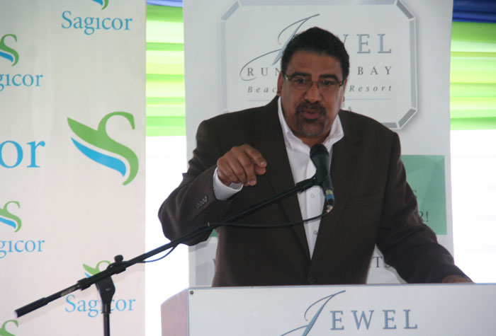 Minister of Tourism and Entertainment, Hon. Dr. Wykeham McNeill,  addresses the ground-breaking ceremony for the new water park at the Jewel Runaway Bay Beach and Golf Resort, in St. Ann, on Thursday, June 12.  The facility, which is to be constructed in nine months, will cost $550 million.