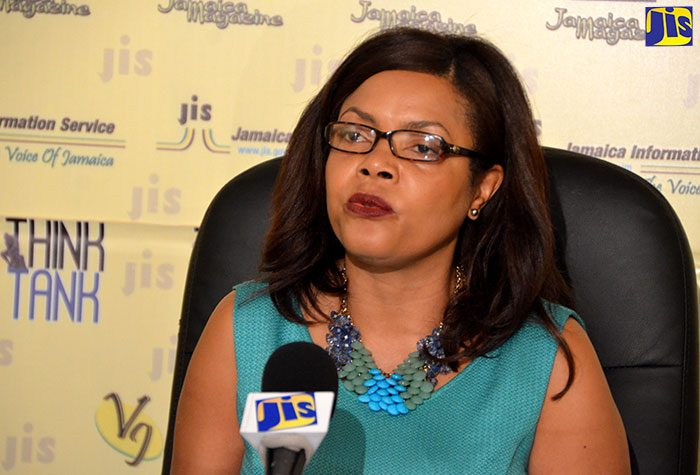 Executive Director of the Jamaica Cancer Society, Mrs. Yulit Gordon, addresses a recent JIS 'Think Tank'