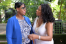Wife of the Prime Minister, the Most Hon. Juliet Holness (left), is greeted by President of the American Women's Group, Claudja Alexander, at the group's luncheon held at Devon House on Thursday (September 21).