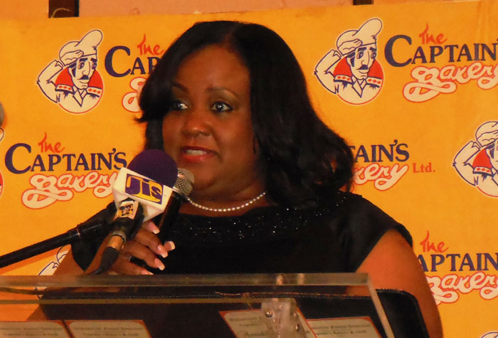 Minister Without Portfolio with responsibility for Sports in the Office of the Prime Minister, Hon. Natalie Neita Headley, addresses the 2014/15 awards presentation of the Westmoreland Football Association, held on March 1 at Sandals Whitehouse Resort in the parish.
