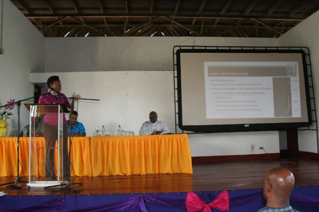 CEAC Solutions Limited representative, Jessica Stewart, makes a presentation at a community meeting at the Negril Community Centre on July 29, where the Environmental Impact Assessment (EIA) for the construction of breakwaters to protect the Negril coastline was discussed.
