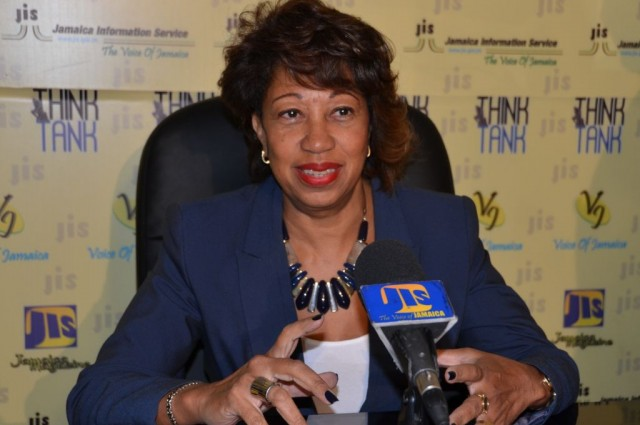 President of JAMPRO,  Diane Edwards, addresses  a JIS Think Tank on January 13.