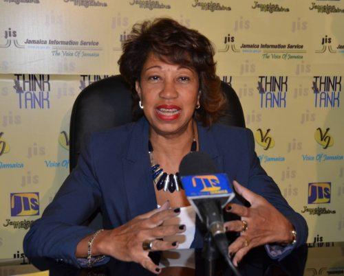 President of Jamaica Promotions Corporation (JAMPRO), Diane Edwards, addresses JIS 'Think Tank'.