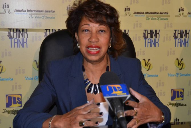 President of Jamaica Promotions Corporation (JAMPRO), Diane Edwards, addresses JIS 'Think Tank'.