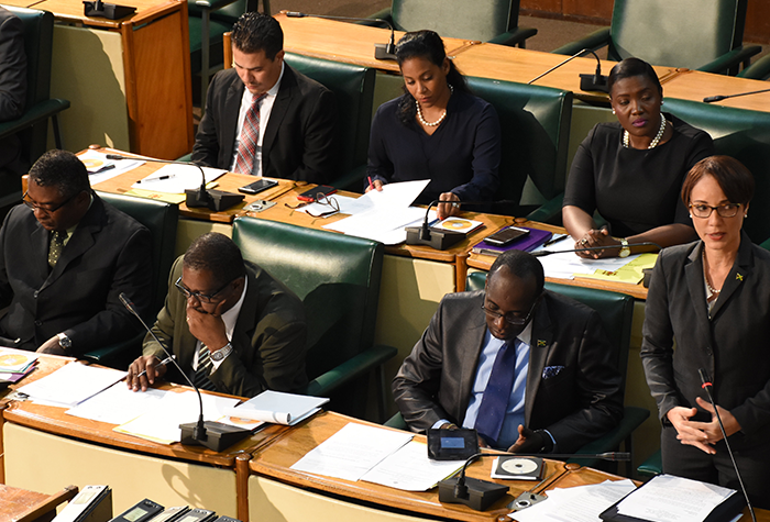 Foreign Affairs and Foreign Trade Minister and Leader of Government Business in the Upper House, Senator the Hon. Kamina Johnson Smith (standing), addressing Friday's (October 7) sitting of the Senate at Gordon House.