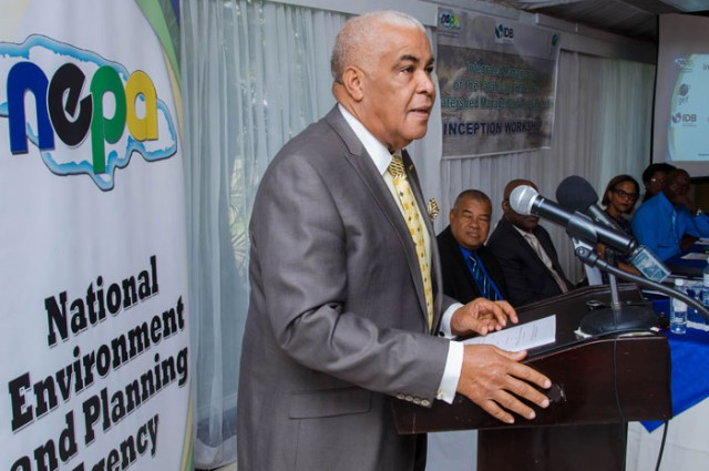 Minister of Water, Land, Environment and Climate Change, Hon. Robert Pickersgill, delivering the keynote address at the launch of the US$3.9 million Yallahs and Hope River Watershed Project, held  on April 13, at the Terra Nova Hotel, in St. Andrew.