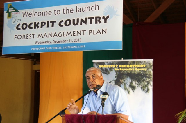 Minister of Water, Land, Environment and Climate Change, Hon Robert Pickersgill,  addresses the launch of the Cockpit Country Local Forest Management Plan, on Wednesday, December 11,  at the Lowe River United Church, in South Trelawny.