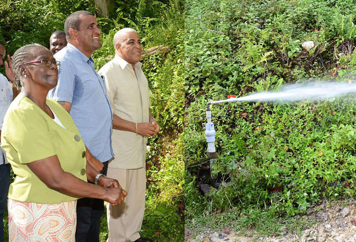 Water, Land, Environment, and Climate Change Minister, Hon. Robert Pickersgill (right), performs the symbolic commissioning of the $60 million Mile Gully/Warwick Castle water supply system in St Mary on November 28. Sharing the moment are: President, Mile Gully/Warwick Castle Benevolent Group, Ceceline Day (left); and Member of Parliament for Western St. Mary, Joylan Silvera.