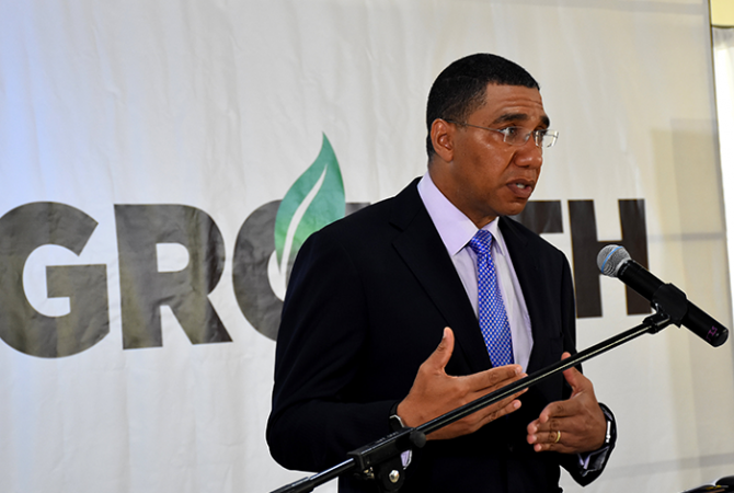 Prime Minister, the Most Hon. Andrew Holness, addresses the Prime Minister's quarterly press briefing at his Devon Road offices in Kingston on September 21.