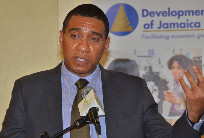 Prime Minister, the Most Hon. Andrew Holness gives an address at the Development Bank of Jamaica (DBJ) 2016/17 Strategic Planning Retreat for Board of Directors at the Knutsford Court Hotel in Kingston on October 7.