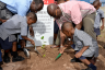 Minister of Education, Youth and Information, Senator the Hon. Ruel Reid (left) and Minister of Local Government and Community Development, Hon. Desmond McKenzie (right), assist two students of the Charles Chin Loy Basic School, in Kingston, with planting a tree, today (October 7), in observance of National Tree Planting Day 2016.