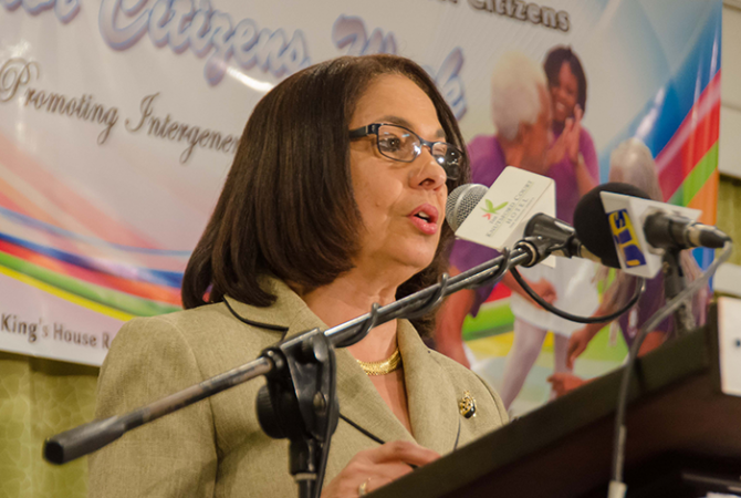 Labour and Social Security Minister, the Hon. Shahine Robinson, addresses the launch of Senior Citizens' Week on Thursday (September 21) at The Knutsford Court Hotel in Kingston.