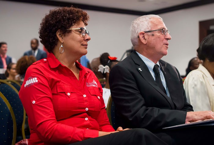 Minister of Education, Hon. Rev. Ronald Thwaites (right) and Chairman of the Joan Duncan Foundation,  Patricia Sutherland, share in the launch ceremony of Conversations for Greatness held at the Pegasus Hotel on Tuesday, October 13. The project is to be facilitated in 150 public schools as a collaboration of the Ministry with the Joan Duncan Foundation, an organisation under the JMMB Group.