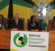 Executive Director, National Parenting Support Commission (NPSC), Dr. Patrece Charles-Freeman (right), updates the media on a number of activities to observe National Parent Month, during the official launch on the month and the NPSC held on November 1, at the Office of the Prime Minister. Listening (from left)  are: NPSC Chairman, Hon. Lady Hall; Education Minister, Hon. Rev. Ronald Thwaites; and Permanent Secretary, Ministry of Education, Elaine Foster-Allen.