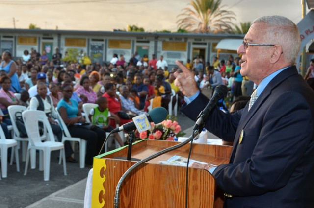 Minister of Education, Hon. Rev. Ronald Thwaites, emphasizes a point while addressing the Kensington Primary School's Parent-Teachers Association (PTA) General Meeting, held on November 20 at the institution's location in Greater Portmore, St. Catherine.