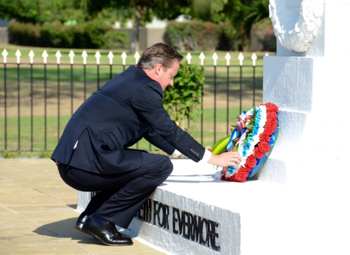 Prime Minister of the United Kingdom (UK), the Rt. Hon. David Cameron, lays a wreath at the Cenotaph in National Heroes Park, in Kingston, today (September 30), to honour soldiers who fought in World Wars I and II. Prime Minister Cameron, who arrived at the Norman Manley International Airport in Kingston, on September 29 for a two-day official visit, departed the island today.