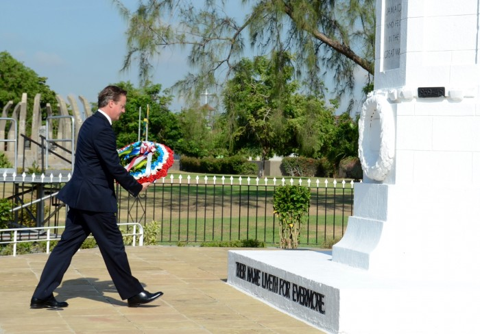 Prime Minister of the United Kingdom (UK), the Rt. Hon. David Cameron, about to place a wreath at the Cenotaph in National Heroes Park, in Kingston, today (September 30), to honour soldiers who fought in World Wars I and II. Prime Minister Cameron, who arrived at the Norman Manley International Airport in Kingston, on September 29 for a two-day official visit, departed the island today.