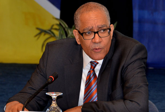 Bank of Jamaica (BoJ) Governor, Brian Wynter, emphasises a point during the quarterly media briefing on November 18, at the Bank's downtown Kingston offices.